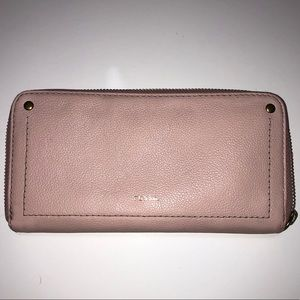 Fossil leather pink wallet